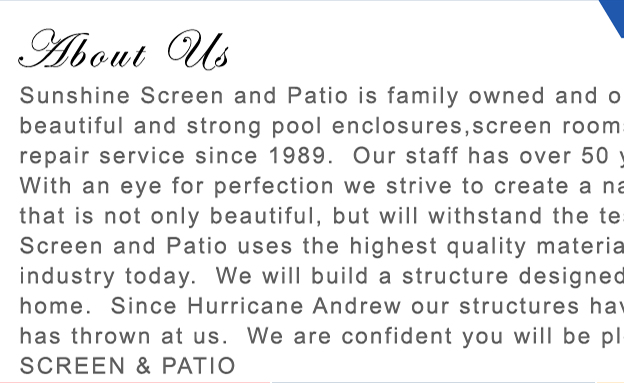 Sunshine Screen & Patio - About Us